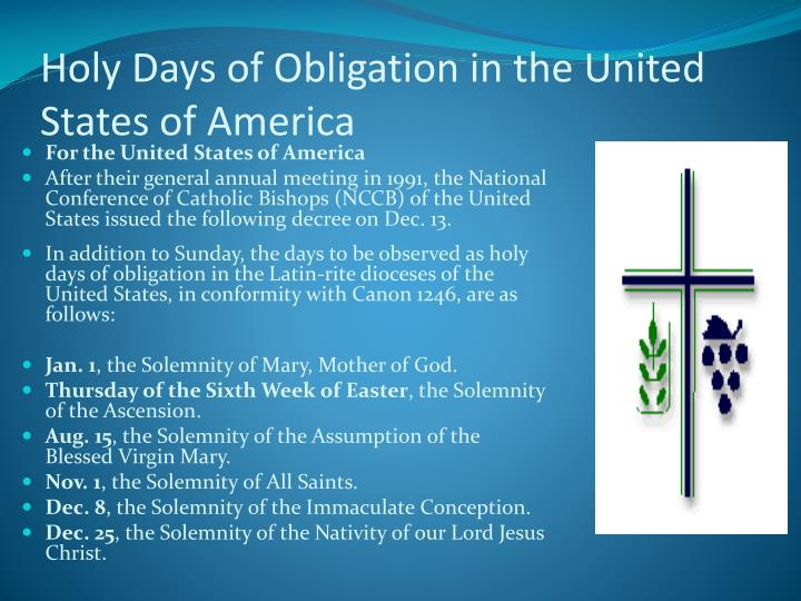 Holy Days of Obligation in the United States of America