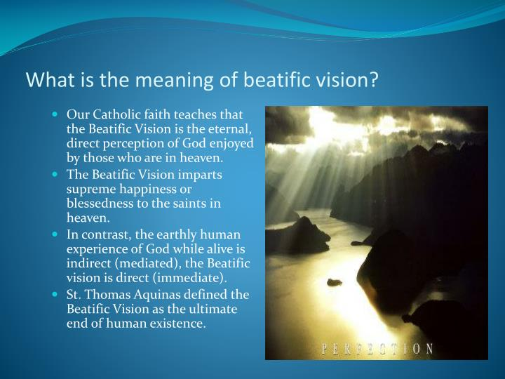 What is the meaning of beatific vision?