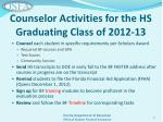 counselor activities for the hs graduating class of 2012 13