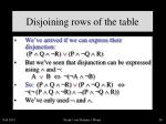 disjoining rows of the table