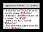 implications between real sentencs