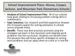 school improvement plans alcova cooper jackson and mountain park elementary schools