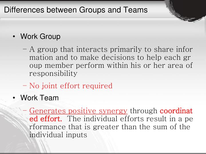 Differences between Groups and Teams