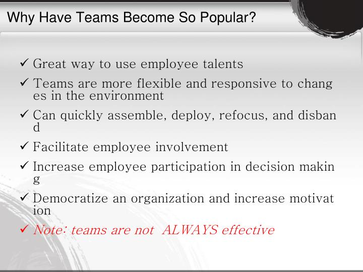 Why Have Teams Become So Popular?