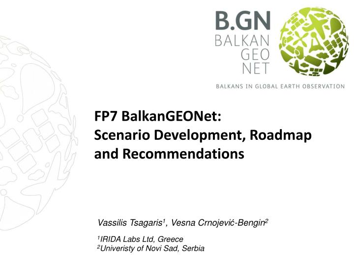 fp7 balkangeonet scenario development roadmap and recommendations n.
