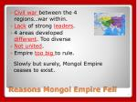 reasons mongol empire fell
