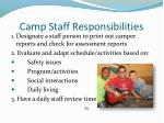 camp staff responsibilities