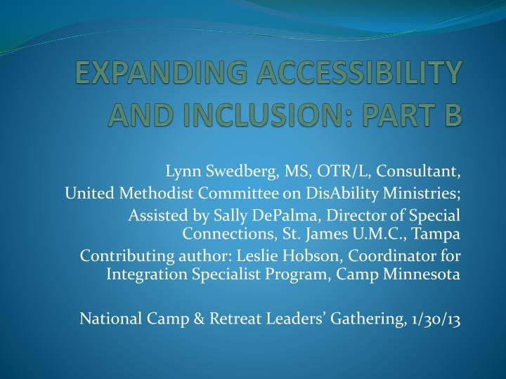 expanding accessibility and inclusion part b n.
