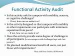 functional activity audit