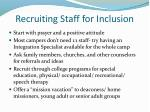 recruiting staff for inclusion