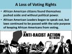 a loss of voting rights