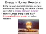energy in nuclear reactions1