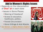add in women s rights issues