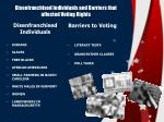 disenfranchised individuals and barriers that affected voting rights