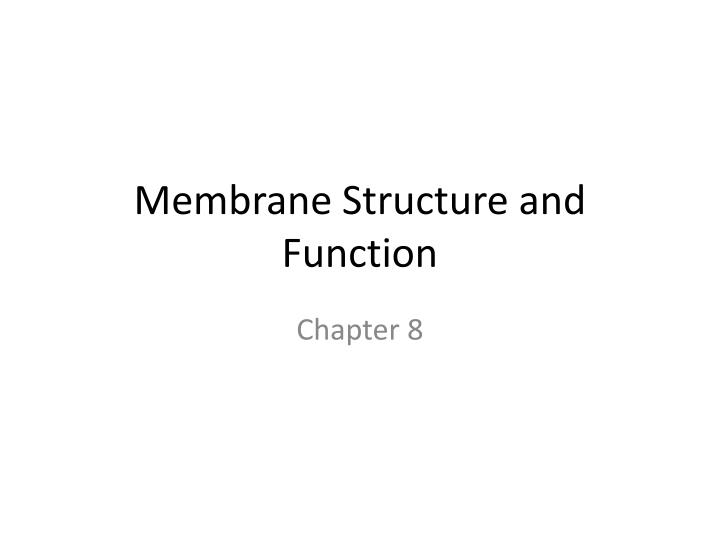 membrane structure and function n.