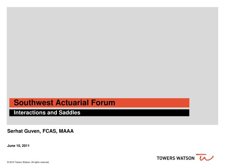 southwest actuarial forum n.