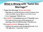 what is wrong with same sex marriage