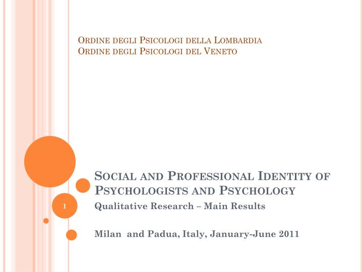 social and professional identity of psychologists and psychology n.