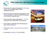 what makes the 18th world congress unique