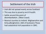 settlement of the irish