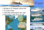 thomson cruises in brief