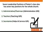 seven leadership positions of pastor s class also has seven key positions for the whole church