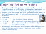 explain the purpose of reading