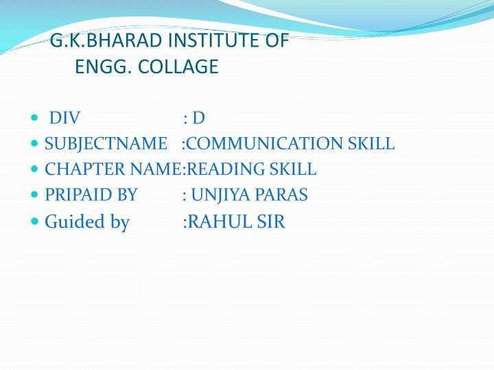 g k bharad institute of engg collage n.