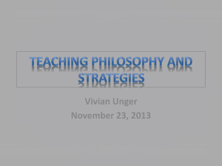 teaching philosophy and strategies n.