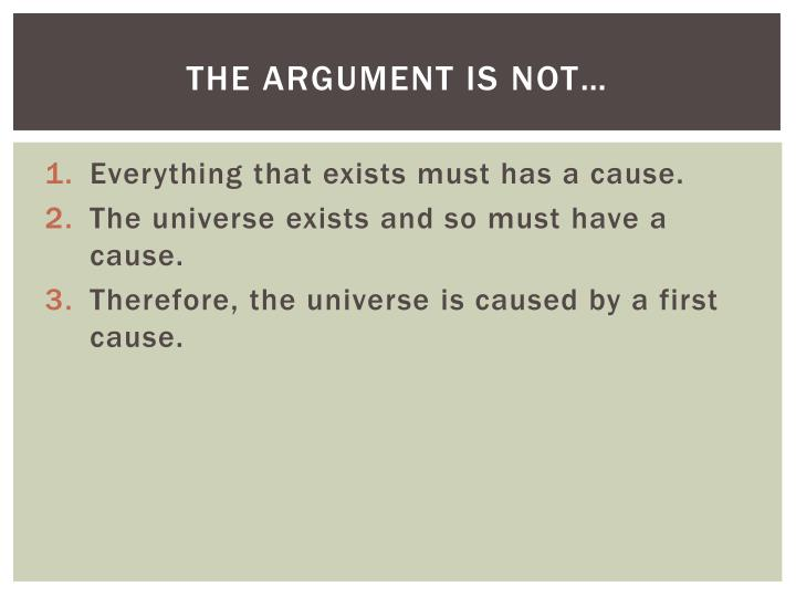 The argument is not…