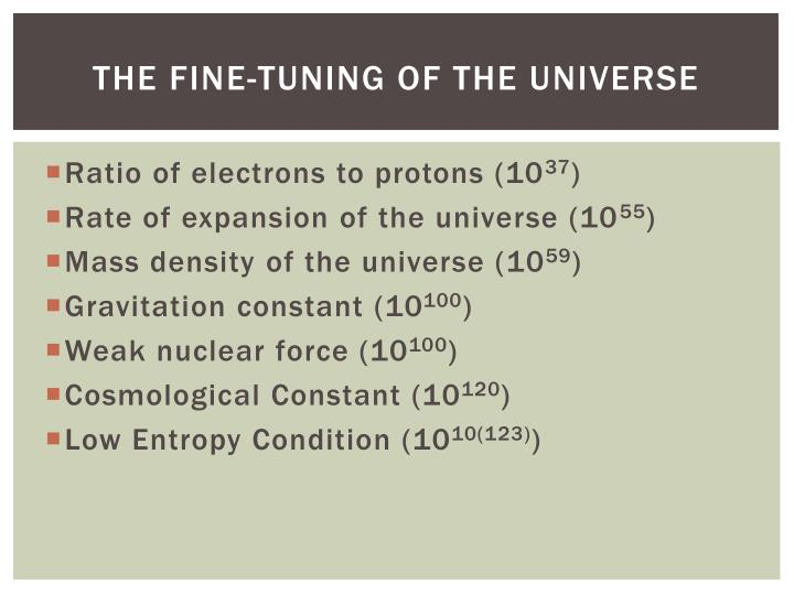 THE FINE-TUNING OF THE UNIVERSE