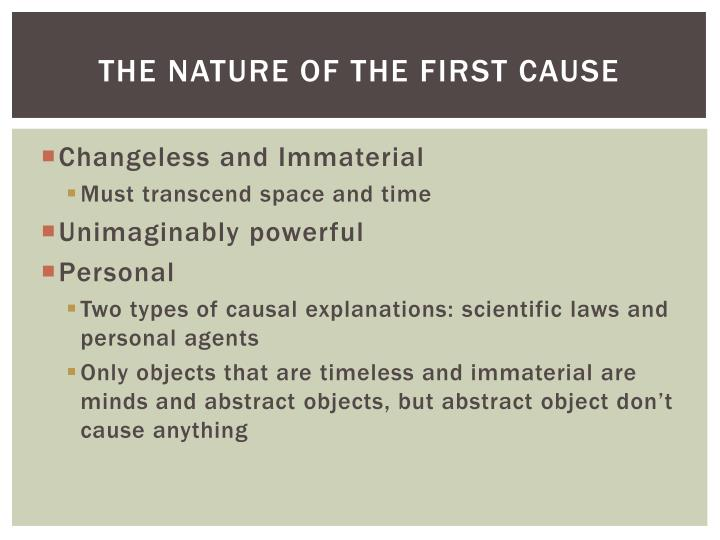 THE NATURE OF the First Cause