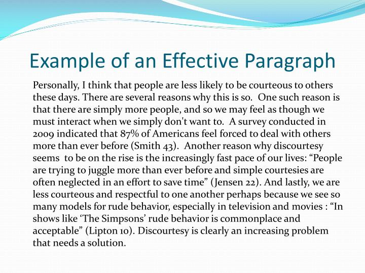 example of a well written paragraph