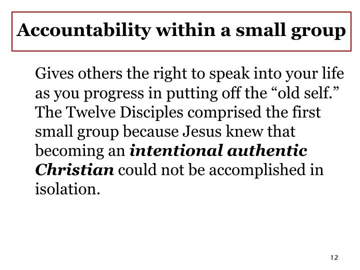 Accountability within a small group