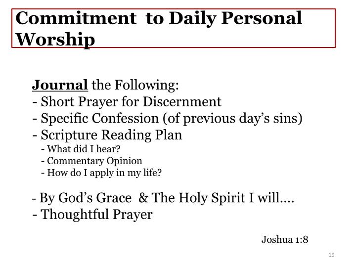 Commitment  to Daily Personal Worship