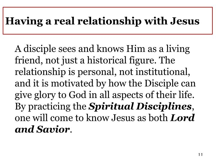Having a real relationship with Jesus