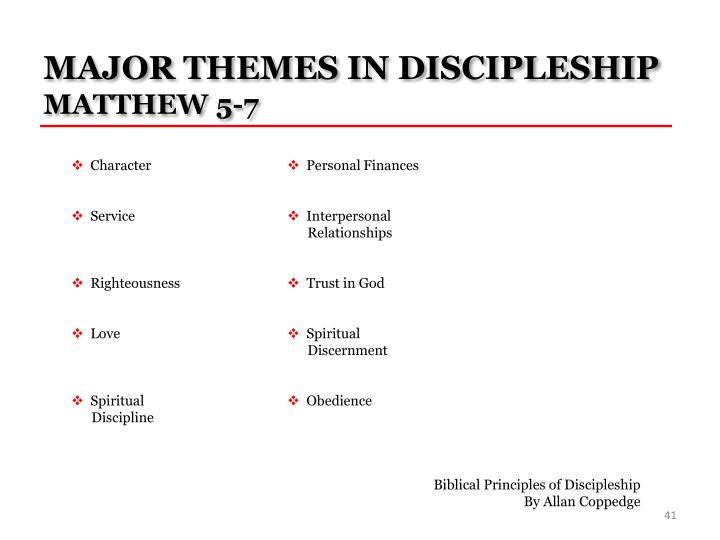 MAJOR THEMES IN DISCIPLESHIP