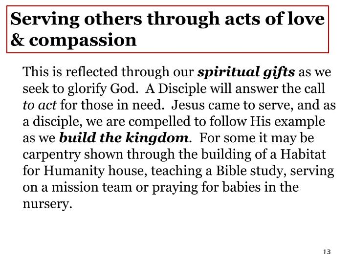 Serving others through acts of love