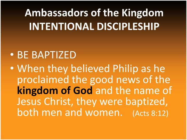 ambassadors of the kingdom intentional discipleship n.