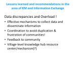 lessons learned and recommendations in the area of km and information exchange