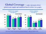 global coverage make statements about global water supply and sanitation based on these two graphs