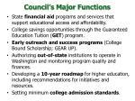 council s major functions