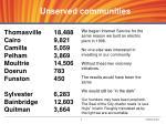 u nserved communities