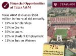 financial opportunities at texas a m