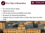 five tips to remember