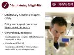 maintaining eligibility