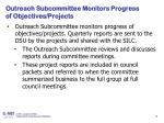outreach subcommittee monitors progress of objectives projects