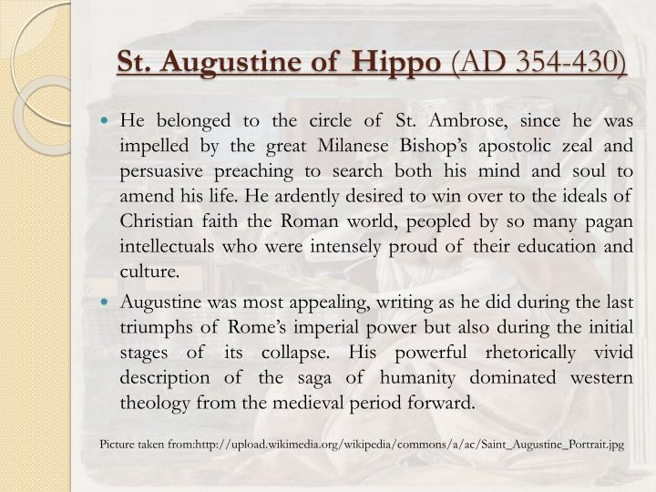 plato vs st augustine of hippo essay Significantly, when augustine turned the age of thirty three he was baptized by ambrose and would go on to become the bishop of hippo yes, i believe from personal experience that one person can make an impact on the spiritual like of another person.