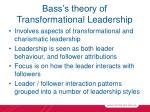 bass s theory of transformational leadership