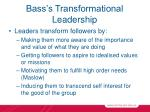 bass s transformational leadership